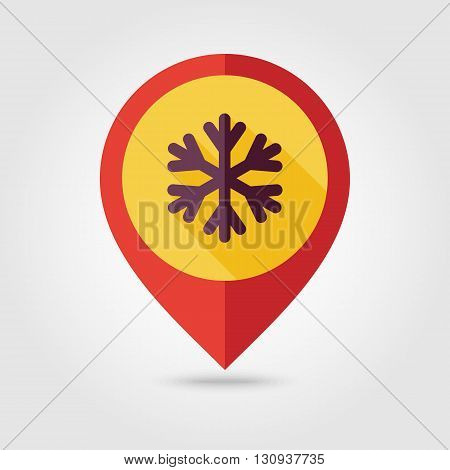 Snowflake Snow flat pin map icon. Map pointer. Map markers. Meteorology. Weather. Vector illustration eps 10