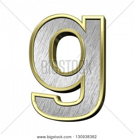 One lower case letter from brushed stainless steel with gold frame alphabet set, isolated on white. 3D illustration.