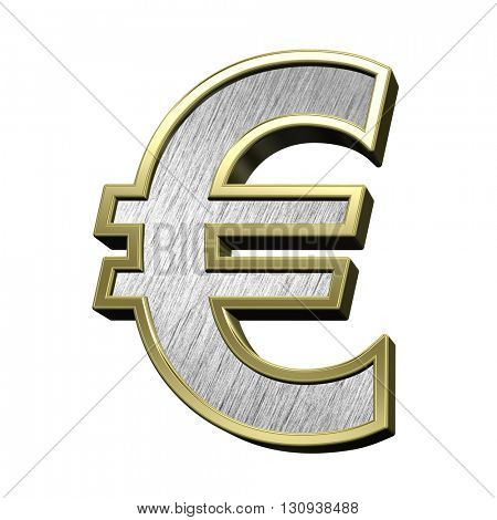 Euro sign case letter from brushed stainless steel with gold frame alphabet set, isolated on white. 3D illustration.