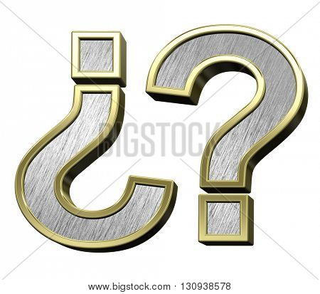 Question mark from brushed stainless steel with gold frame alphabet set, isolated on white. 3D illustration.