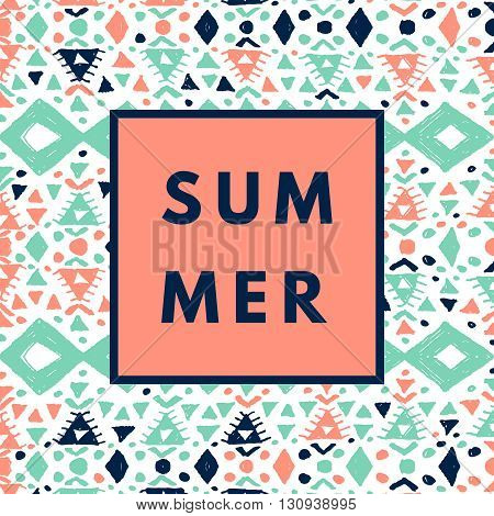 Summer hipster boho chic background with aztec tribal mexican texture. Minimal printable journaling card, creative card, art print, minimal label design for banner, poster, flyer.
