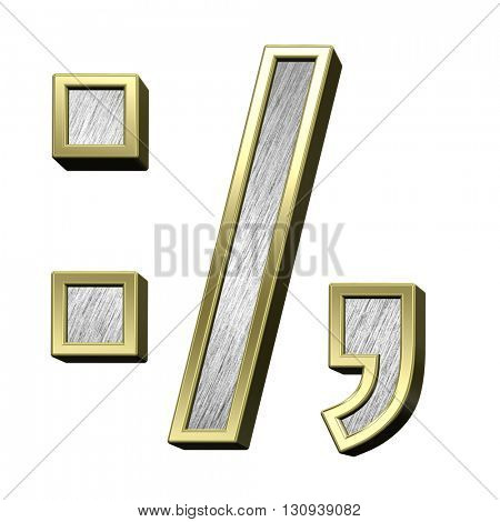 Colon, semicolon, period, comma from brushed stainless steel with gold frame alphabet set, isolated on white. 3D illustration.