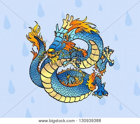 Cheerful blue water Chinese dragon against water drops