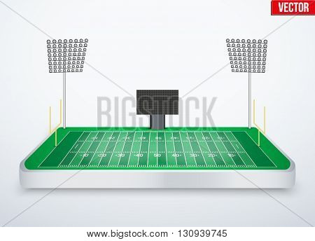Concept of miniature tabletop American football soccer stadium. In three-dimensional space. Vector illustration isolated on background.