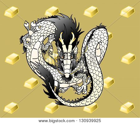 Flying white metal Chinese dragon against gold ingots