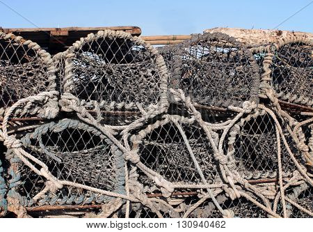 Stack of old lobster pots, Scarborough, England.