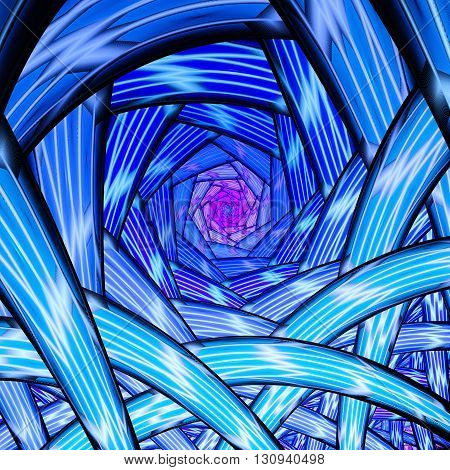 Endless tunnel. Plant roots. Mysterious psychedelic relaxation wallpaper. Sacred geometry. Fractal abstract pattern. Digital artwork creative graphic design.
