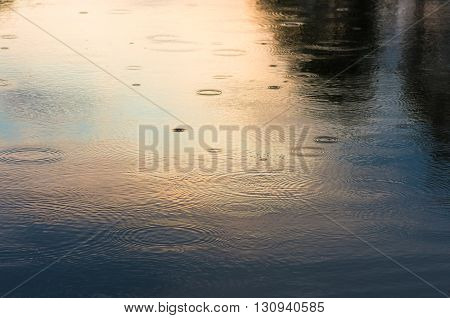 raindrops on the water at sunset in summer