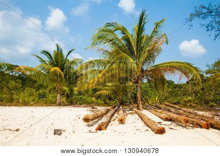 Summer on tropical island Koh Rong in Cambodia. Landscape of south east Asia.