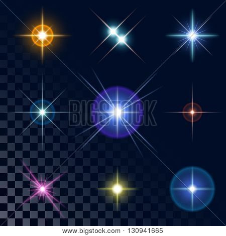Set of the realistic sparkling multicolored star fires and flashes on a transparent background a vector illustration. Blue, red, yellow, pink, violet stars.