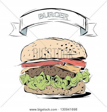 Hand drawn sketch. burger background.Vector illustration. Restaurant menu design