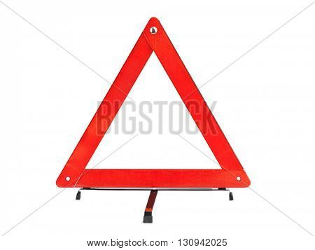 Warning car sign - red triangle isolated on a white background