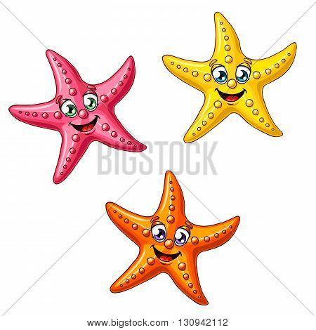 Three multi-colored cheerful cute starfishes on a white background. Red, yellow and orange cartoon starfishes.