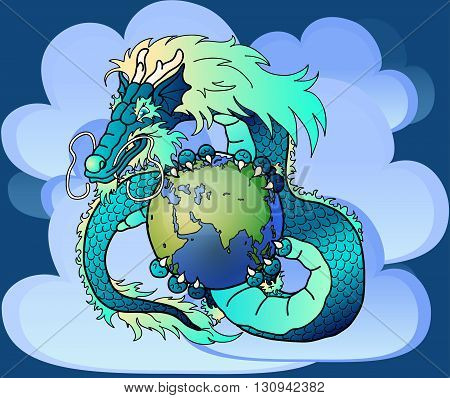 Wise blue water east dragon holds in hand the earth against clouds