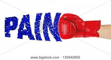 Boxing glove and word Disease isolated on white background
