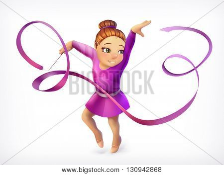 Little gymnast, vector icon