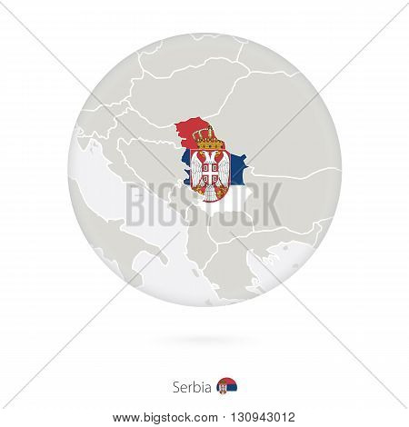 Map Of Serbia And National Flag In A Circle.