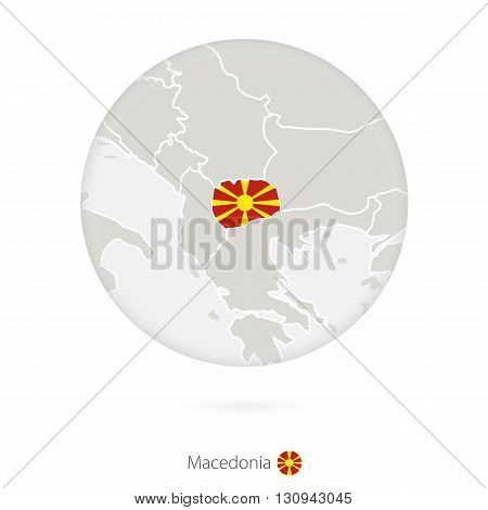 Map Of Macedonia And National Flag In A Circle.