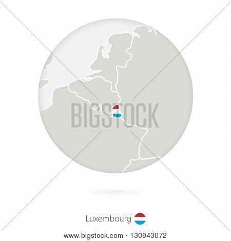 Map Of Luxembourg And National Flag In A Circle.