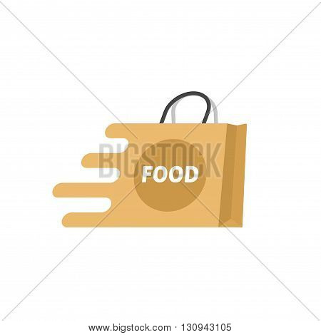 Food delivery vector logo isolated on white, paper shopping bag with food label icon, concept of online food supermarket symbol, fast delivery service creative logotype, brand