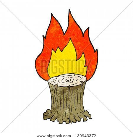 freehand textured cartoon big tree stump on fire