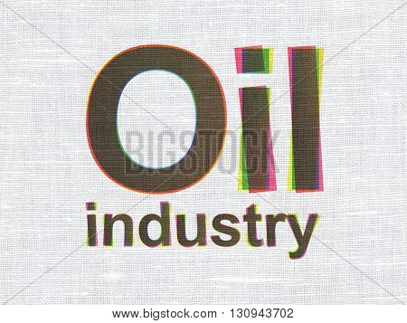Manufacuring concept: CMYK Oil Industry on linen fabric texture background