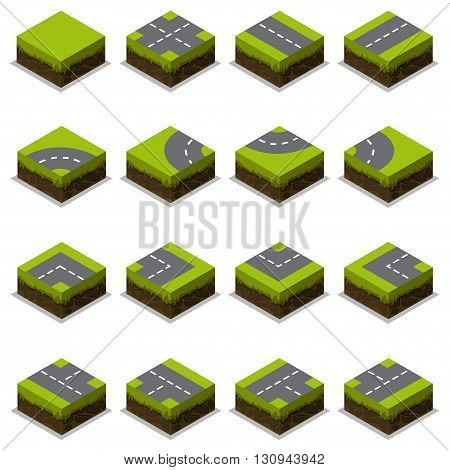 Assembled Isometric Road Intersection in vector element