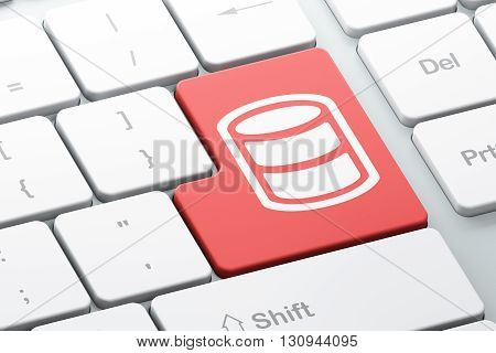Programming concept: Enter button with Database on computer keyboard background, 3D rendering