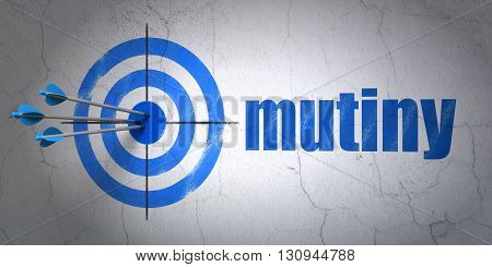 Success political concept: arrows hitting the center of target, Blue Mutiny on wall background, 3D rendering