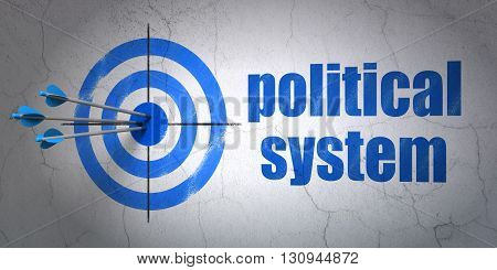 Success political concept: arrows hitting the center of target, Blue Political System on wall background, 3D rendering