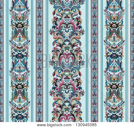 Seamless vintage background. Royal renaissance striped wallpaper. Vector background for textile design.  Wallpaper, background, baroque pattern. Pastel tone on light blue backdrop.