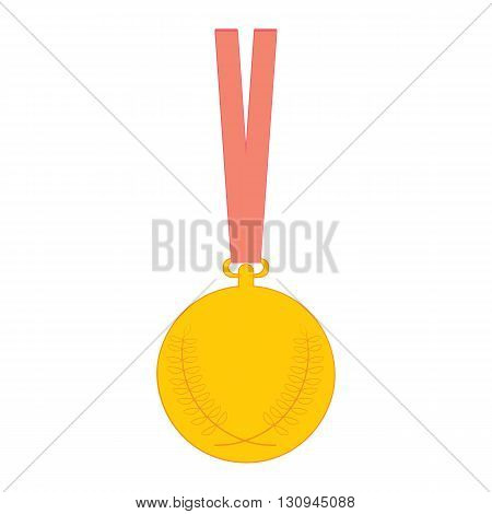 Gold medal. Vector medal icon isolated on white background.