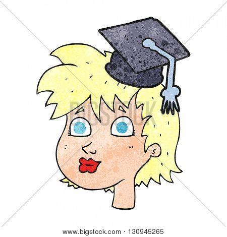 freehand textured cartoon woman wearing graduate cap