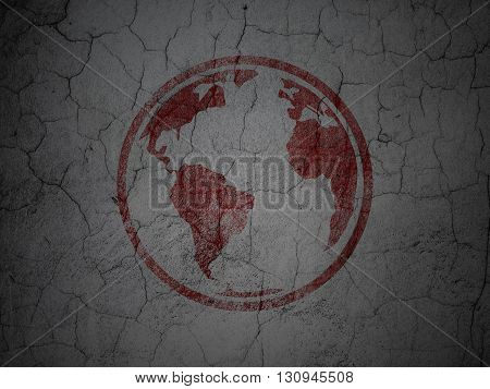 Education concept: Red Globe on grunge textured concrete wall background