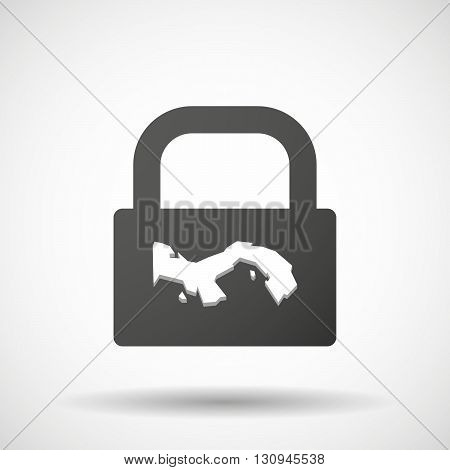 Isolated Lock Pad Icon With  The Panama Map