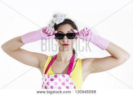 portrait of pretty housewife with sunglasses isolated on white