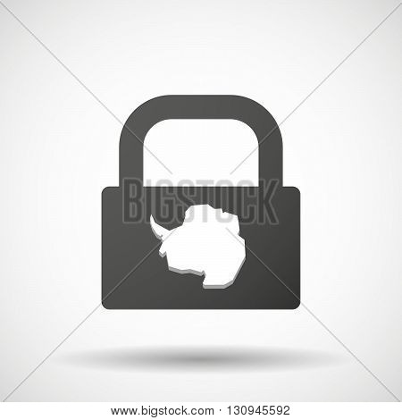 Isolated Lock Pad Icon With  The Map Of  Antarctica