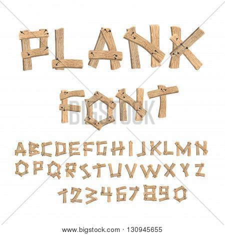 Plank Font. Wooden Table Alphabet. Old Boards With Nails Abc. Letters Put Together From Vintage Wood
