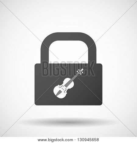Isolated Lock Pad Icon With  A Violin