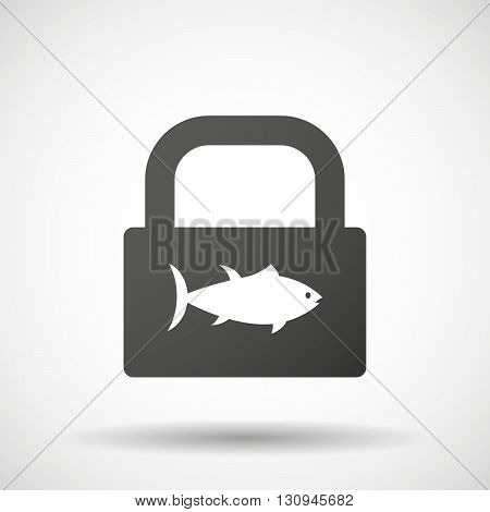 Isolated Lock Pad Icon With  A Tuna Fish