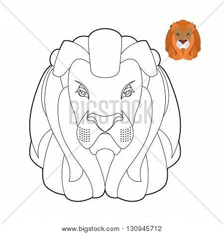 Lion Coloring Book. Head Of Predator With Shaggy Mane. Wild Cruel Animal Savanna. Big Serious Beast