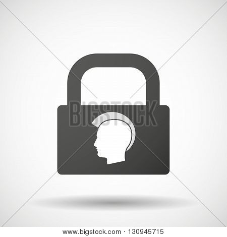 Isolated Lock Pad Icon With  A Male Punk Head Silhouette