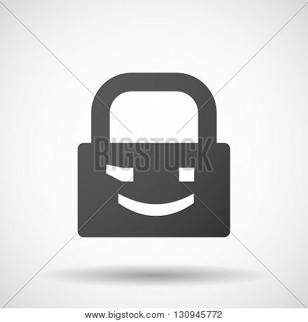 Isolated Lock Pad Icon With  A Wink Text Face Emoticon