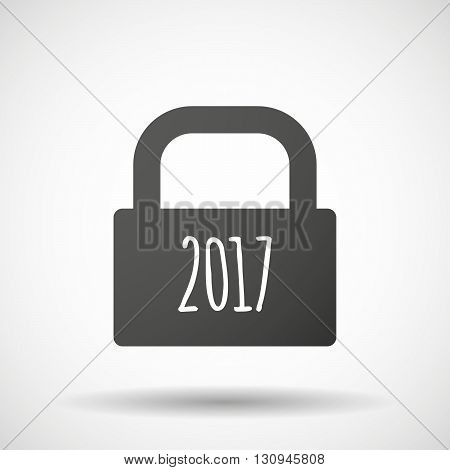Isolated Lock Pad Icon With  A 2017 Year  Number Icon