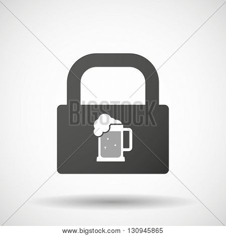 Isolated Lock Pad Icon With  A Beer Jar Icon