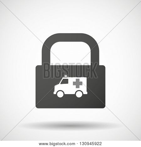 Isolated Lock Pad Icon With  An Ambulance Icon