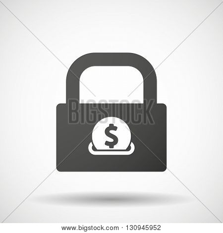 Isolated Lock Pad Icon With  A Dollar Coin Entering In A Moneybox