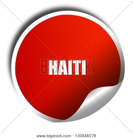 Greetings from haiti, 3D rendering, red sticker with white text