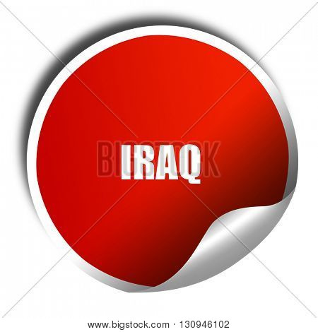 Greetings from iraq, 3D rendering, red sticker with white text