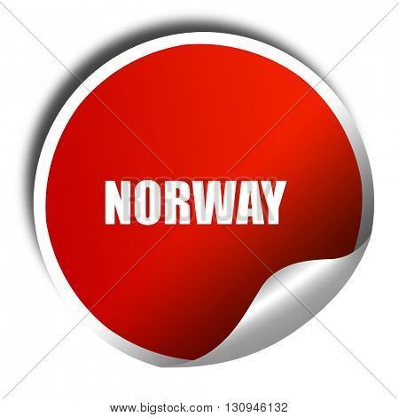 Greetings from norway, 3D rendering, red sticker with white text